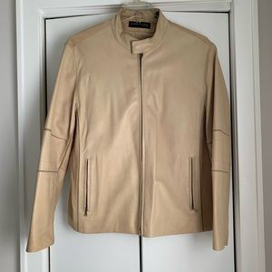 Sz XL Kenneth Cole beige leather jacket
